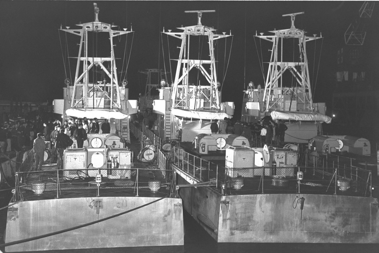 THE FIVE FRENCH BUILT BOATS AFTER THEIR ARRIVAL FROM CHERBOURG TIED UP AT THE KISHON PORT IN HAIFA.