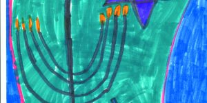 illustration of a menorah and a dreidel and star of David