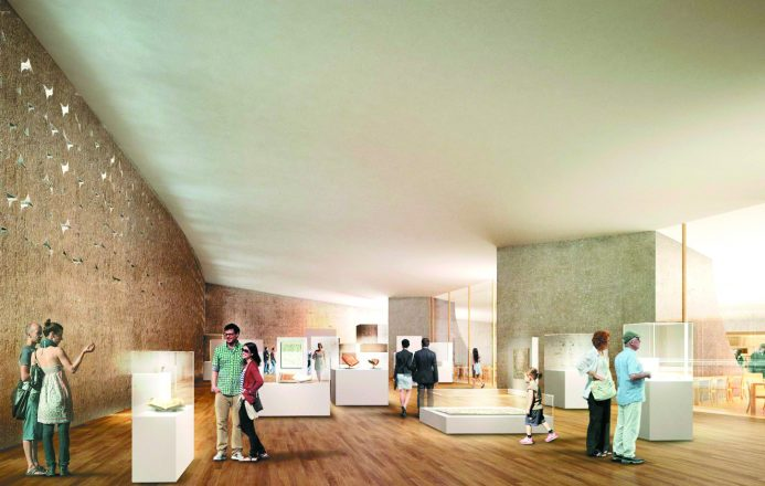 William Davidson Permanent Exhibition Gallery rendering showing glass cases and people walking in a wide open space.
