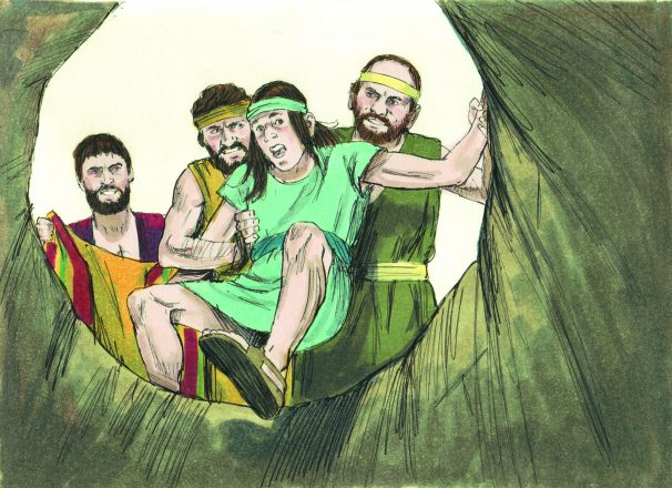 Joseph, son of Jacob, had eleven brothers. The brothers resented him for being Jacob's favorite. Jacob had given Joseph a coat of many colors. That angered the brothers. Joseph had two dreams. In each he was lifted high above the brothers. That made them angry. They sold him into slavery and told their father he was dead. Joseph ended up in the house of Potiphar. He was successful and honored in that house until Potiphar's wife tried to persuade him to have an inappropriate relationship. He refused and she falsely accused him. Joseph landed in jail. He was there until Pharaoh had a dream and needed someone to interpret it. He called for Joseph. Joseph told him famine was coming to Egypt and what needed to be done to prepare. Again Joseph gained success and prominence in Egypt. His brothers came to buy grain. Joseph told them to return and bring back the youngest brother. He demanded one brother stay behind. He tested his brothers by hiding money in their grain bags. They returned the money. They did as instructed, brought back Benjamin. Again Joseph tested his brothers by hiding a goblet in Benjamin's bag. When found, he insisted Benjamin stay behind. The brothers begged for mercy for their father's sake. Joseph knew they had changed. He revealed his identity and was reunited with his brothers and father, Jacob.