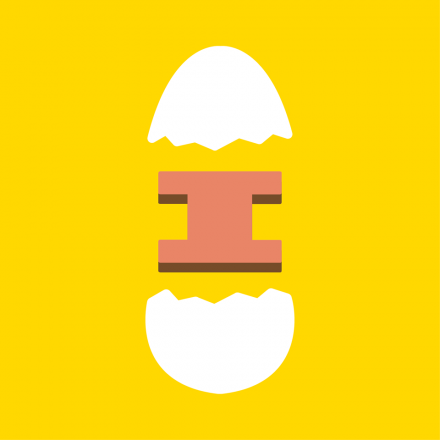 """Iggy's Eggies logo showing a graphic design of a broken egg with an """"I"""" in the middle"""