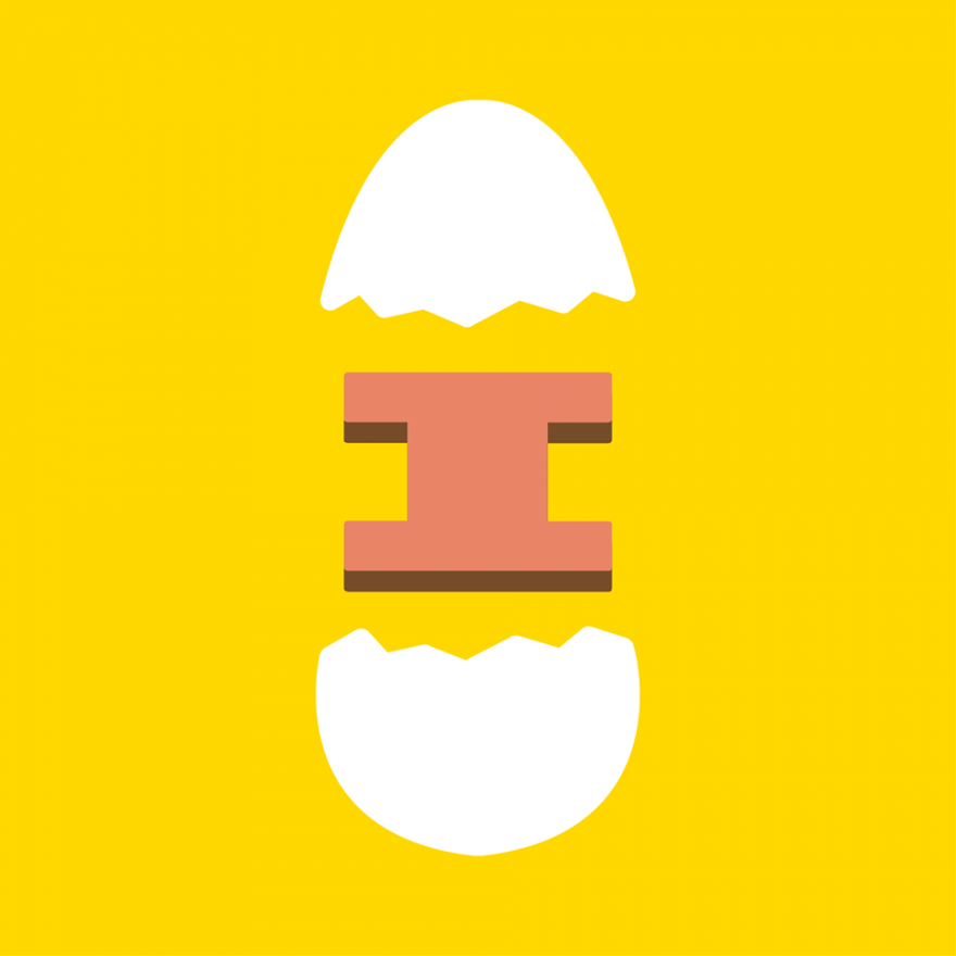 "Iggy's Eggies logo showing a graphic design of a broken egg with an ""I"" in the middle"