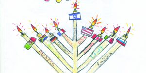 """menorah with the words """"let's light up our world together. Happy hanukkah!"""""""