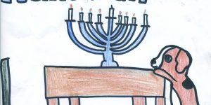 "Chanukah scene with a dog reaching up to a table with a lit menorah on it and the words ""happy hanukkah"""