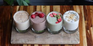 new milkshakes - 4 lined up with different flavors