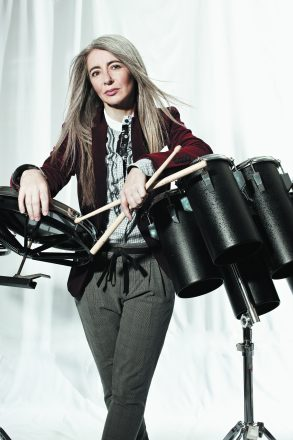 Dame Evelyn Glennie at the drums