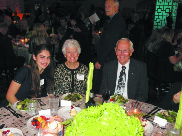 Rebecca Blum with Apollo 16 Lunar Module Pilot Charlie Duke and his wife, Dottie, at a gala event in mid-October for the Back to Space program.