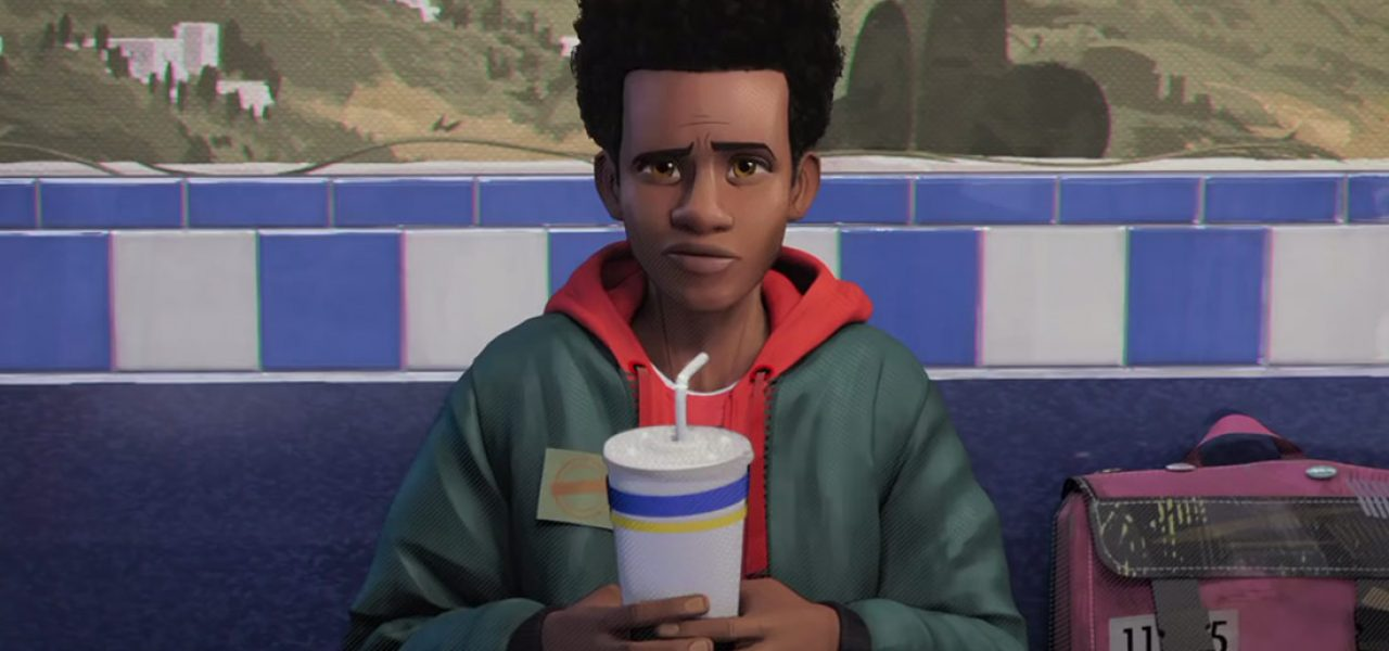 Still from the movie Spider-Man: Into the Spider-Verse featuring Miles Morales illustrated on a bench staring at the viewer and holding a paper cup with a straw