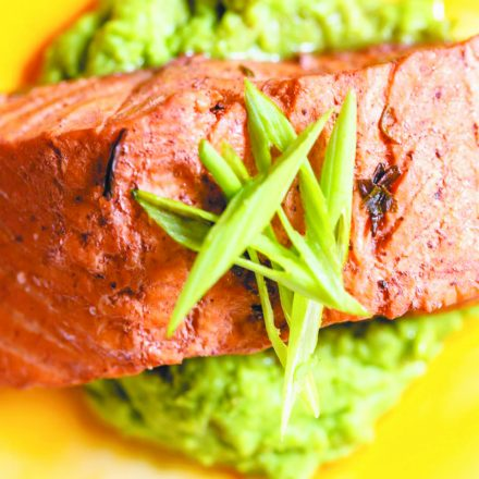 salmon on a bed of green mash from The Whitney