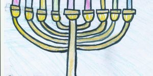 """chanukah menorah lit with people lining the top and bottom and the words """"peace love light"""""""