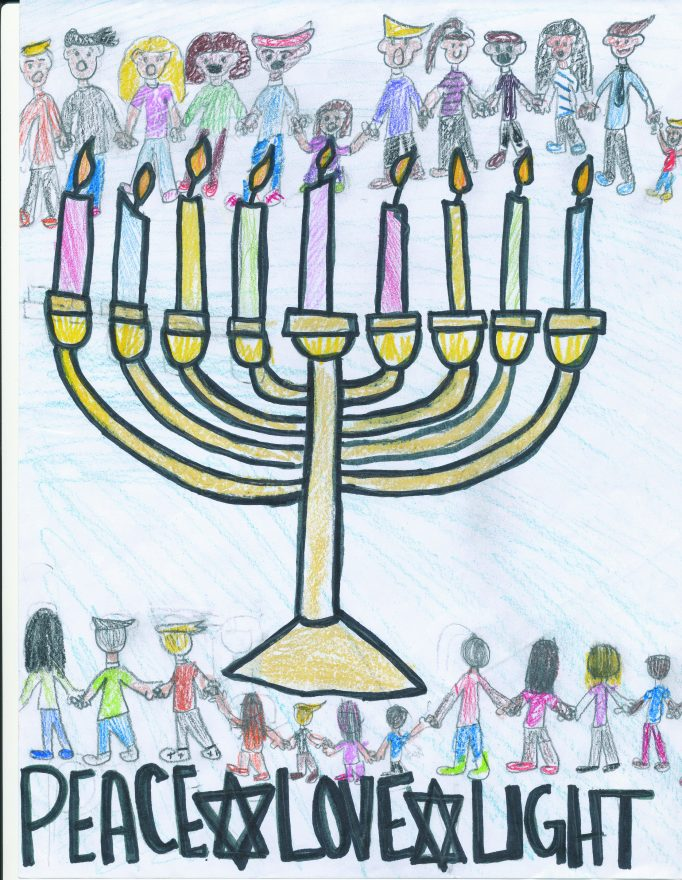 "chanukah menorah lit with people lining the top and bottom and the words ""peace love light"""