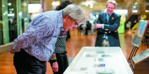 Richard Barr of West Bloomfield examines Albert Kahn-related artifacts.