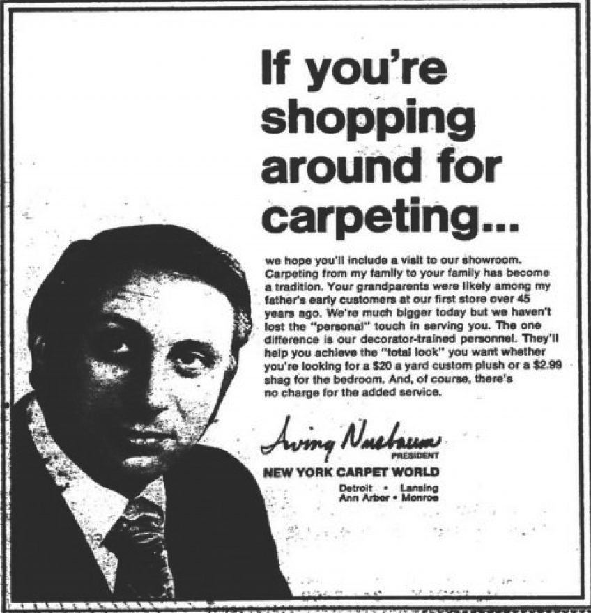 "Aug. 21, 1981 issue of the JN ad. In this ad, New York Carpet World is offering one-half off scholarships for ""Jewish Boys and Girls to the Yeshivah Nursery Program."""