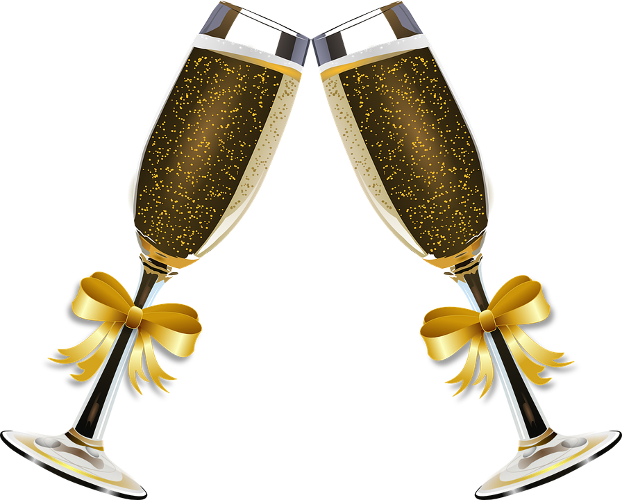 graphic of two champagne glasses toasting with bows around the stems