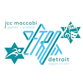 JCC Maccabi Games & ArtsFest logo showing a star of David with a runner in it, a star of David spelling Detroit, and a star of david with a music sign, film clipboard, and theater mask