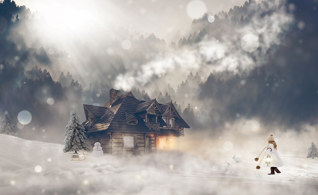illustration of a winter scene showing a house with an evergreen tree out front and a snow man and sled. A girl walks in the snow towards the house holding a lantern. Bunny rabbits are placed throughout the snow and almost blend in entirely.