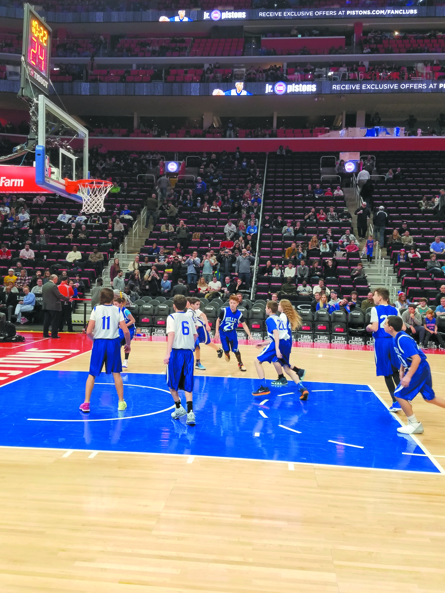 best website ce045 fded3 Players on Hillel Day School basketball teams hoop it up at halftime of a Detroit  Pistons game
