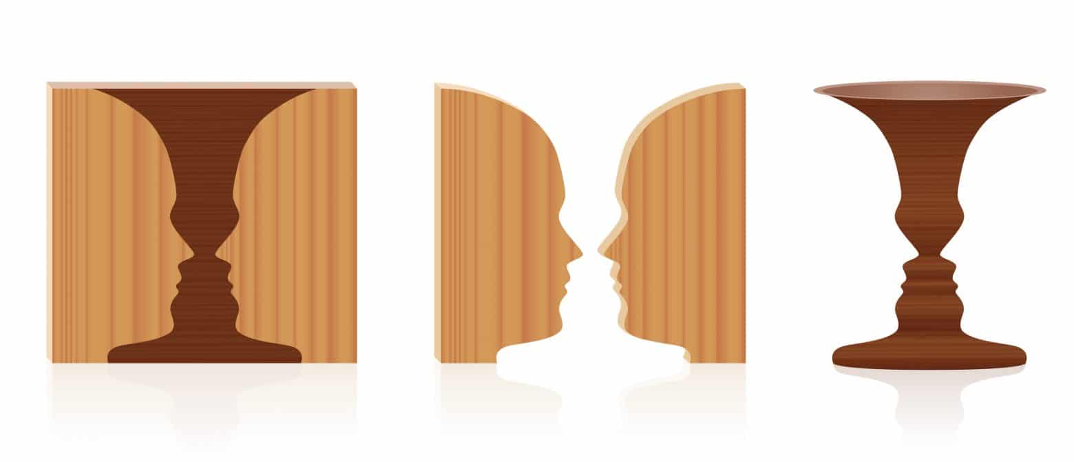 Faces vase optical illusion. Wooden textured 3d figure-ground perception. In psychology known as identifying figure from background. Vector illustration over white.