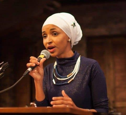 Ilhan Omar at the mic