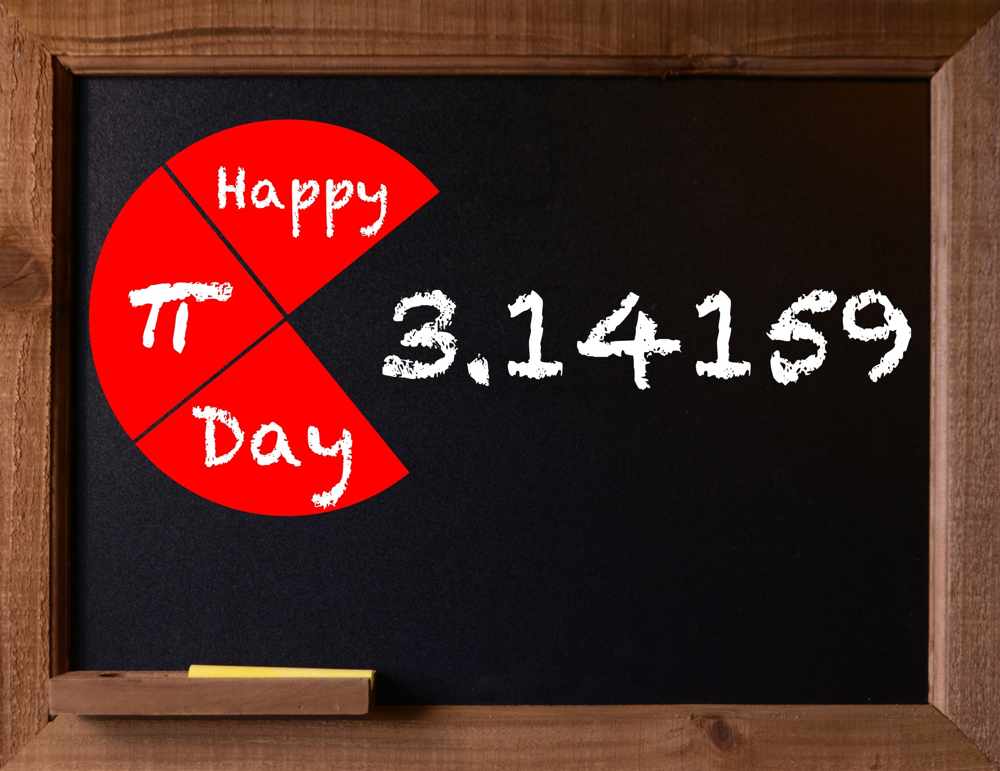 Blackboard with Happy Pi Day message