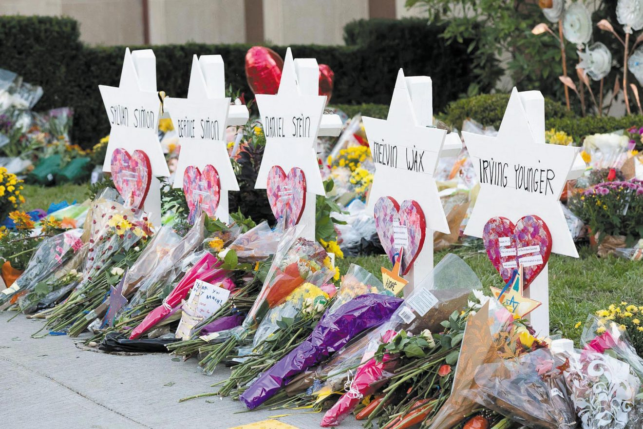 Some of the memorials outside Tree of Life Synagogue in Pittsburgh, where 11 people were killed on Shabbat, Oct. 27, 2018