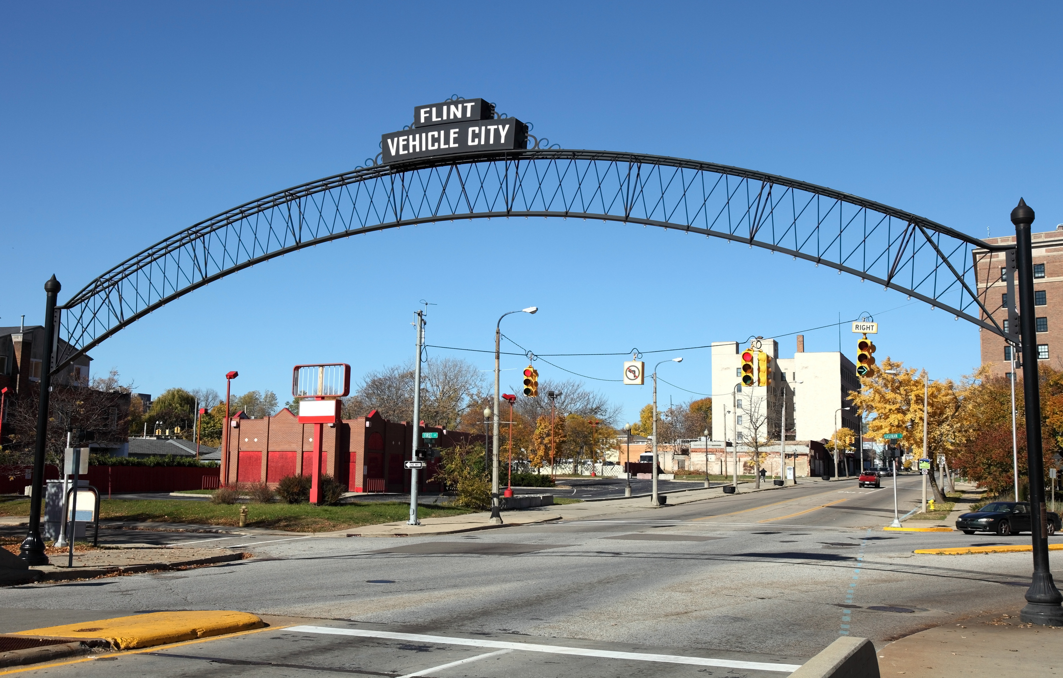 Flint Vehicle City sign entering downtown
