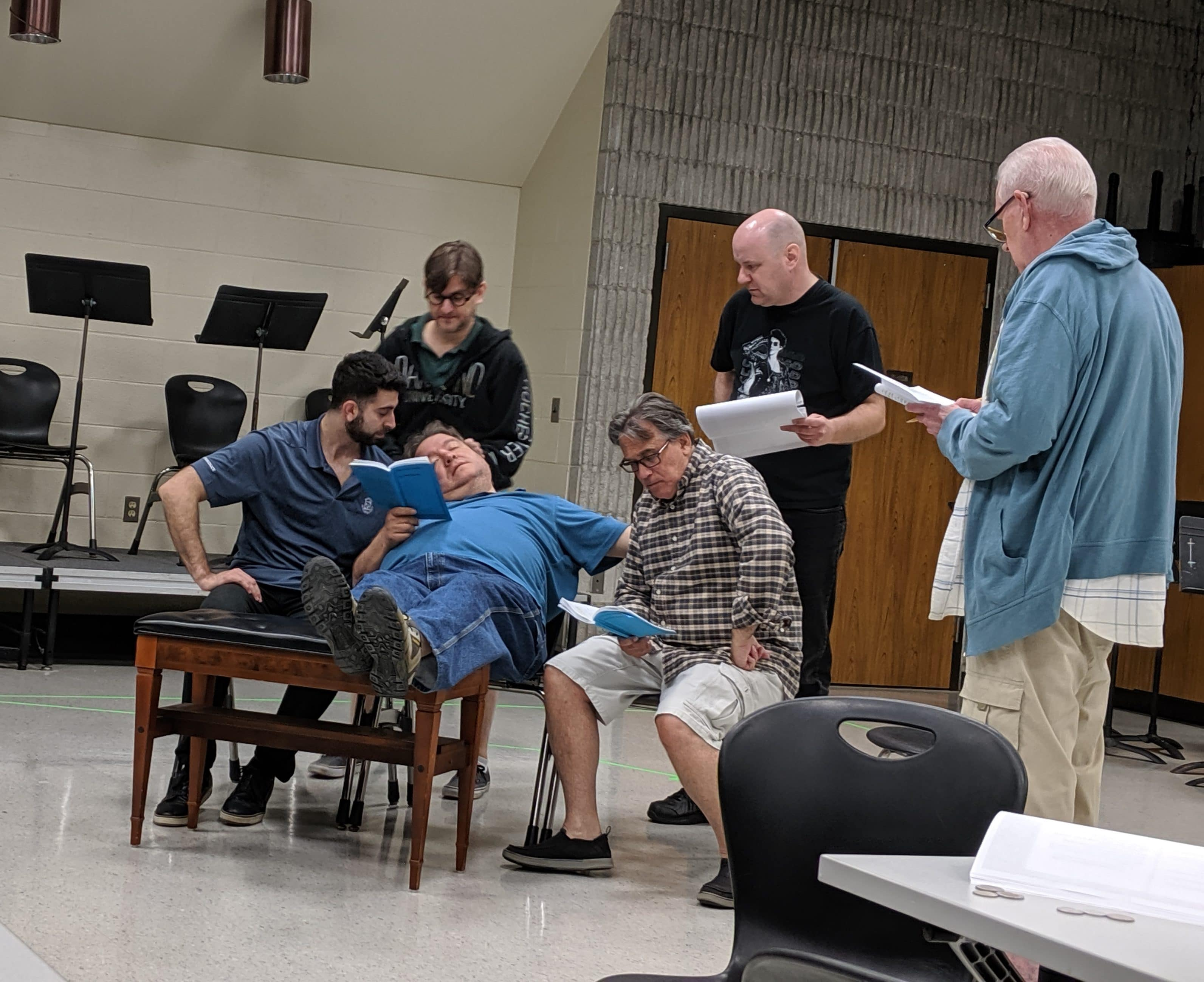 Cast members of JET's The Odd Couple in rehearsal at Henry Ford College in Dearborn