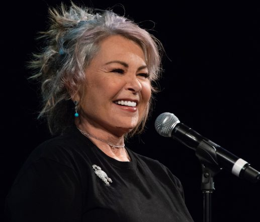 Roseanne Barr at the microphone
