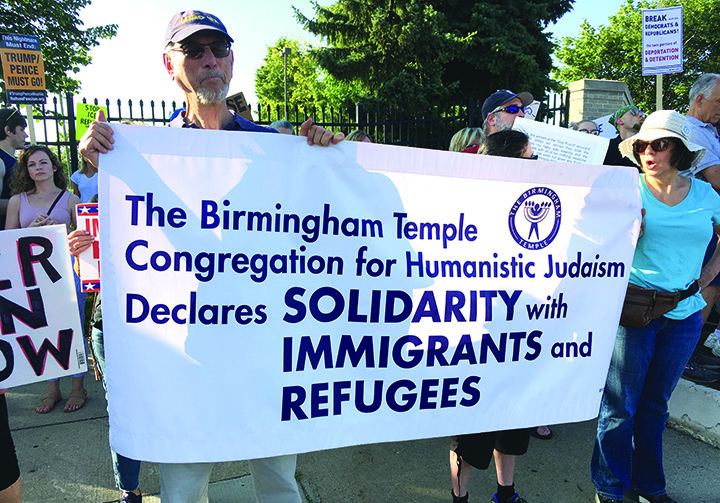 ICE protesters from the Birmingham Temple