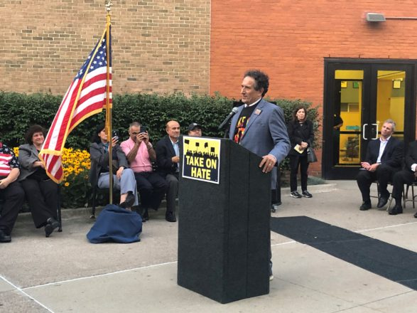 Andy Levin speaks at the Take on Hate rally