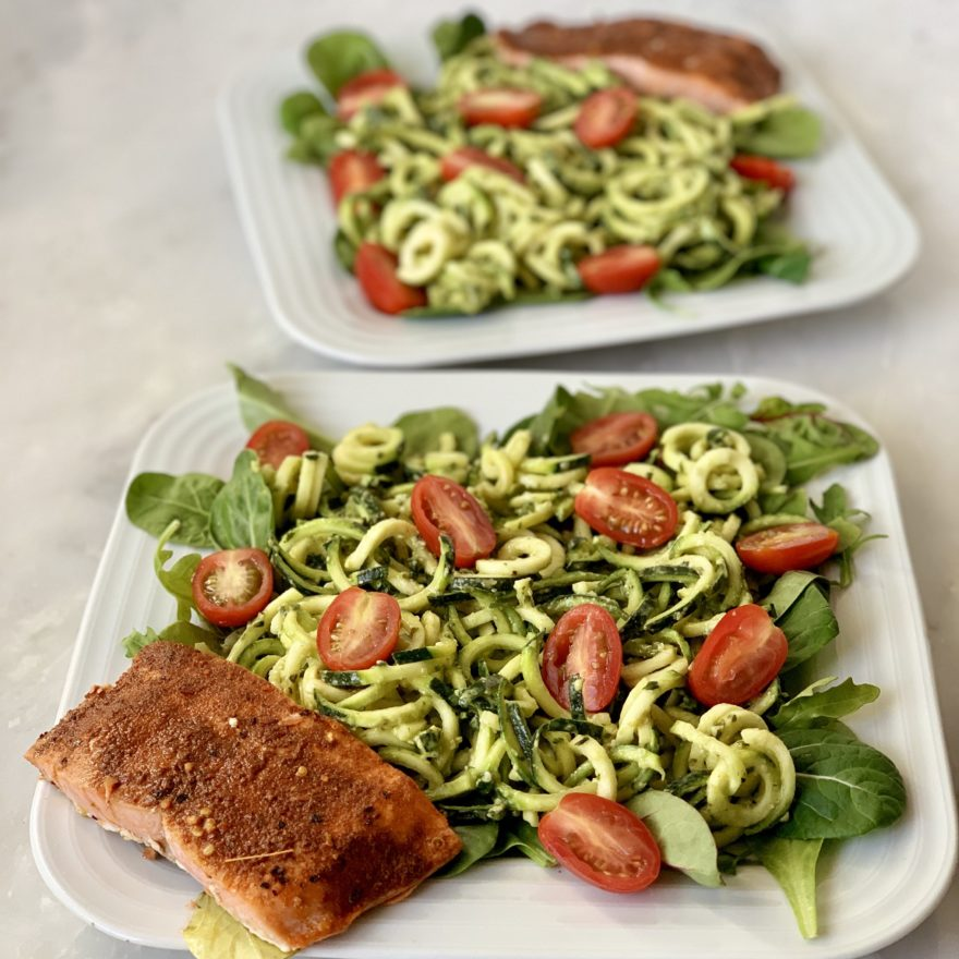 Charlotte Press avocado pesto with zoodles featuring healthy fats