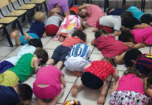A kindergarten in central Israel during a rocket alarm in 2014