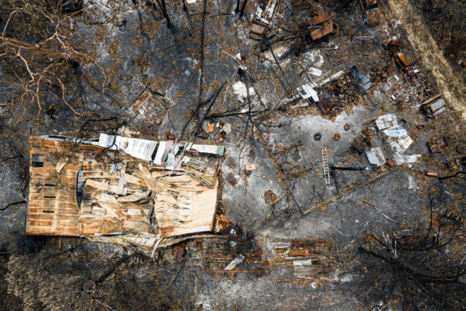 The devastation of the fires in Australia can be seen in this aerial view photo.