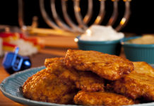 latkes and menorah