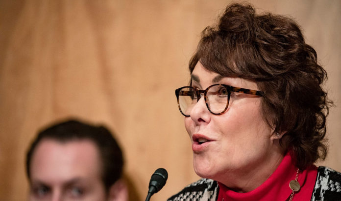 Sen. Jacky Rosen, seen at a Homeland Security Committee meeting in March 2020, was the lead Senate sponsor on the $10 million Holocaust education funding bill.