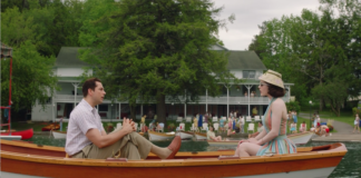 Rachel Brosnahan and Zachary Levi in a scene filmed at Scott's Family Resort.