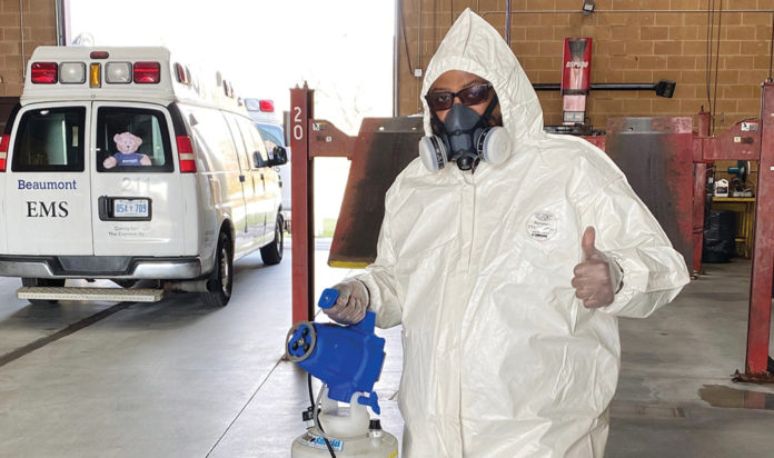 Jared Rothberger has been sanitizing emergency response vehicles during the pandemic.