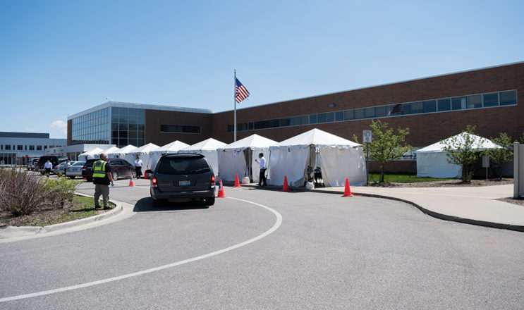 Tents and volunteers are ready for donors