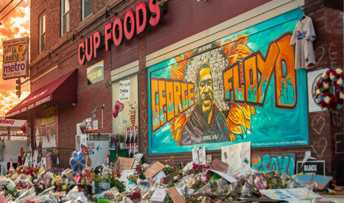The Minneapolis George Floyd mural on the evening of June 6, 2020