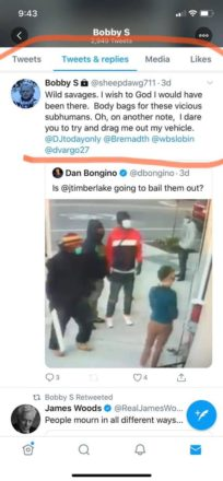 """The Twitter account has since been taken down, but in screenshots, the tweets refer to protesters as """"wild savages"""" and read, """"body bags for these vicious subhumans."""""""