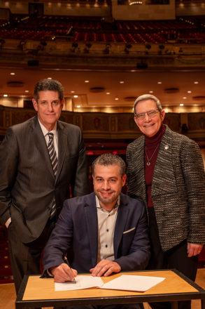 DSO Chairman Mark Davidoff, incoming Music Director Jader Bignamini and President and CEO Anne Parsons