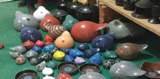 Typical Ethiopian pottery ready for market