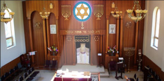 The sanctuary at Keter Torah, which began holding morning services on Memorial Day weekend with strict guidelines to prevent the spread of COVID-19.