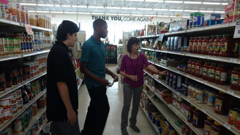 Left to right: Steven Guerri, a fellow student and job coach Therese Blondell