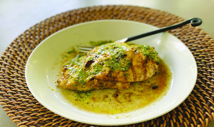 Olive Oil, Lemon, Garlic Chicken with Herbed Drizzle