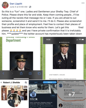 Dan Lippitt posted a series of screenshots highlighting inflammatory, hateful tweets and posts from various businesspeople, politicians and others starting June 2.
