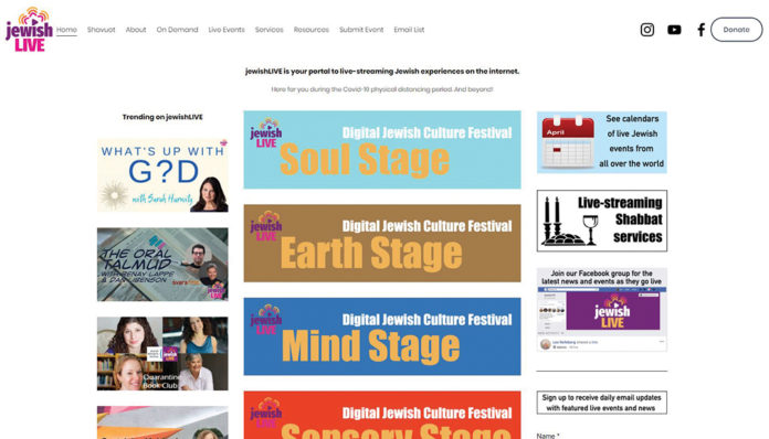 The website, jewishLIVE.org, has a schedule of live streaming experiences broken out into categories like Soul Stage, Earth Stage, Mind Stage, Sensory Stage, Kids Stage and Music Stage.