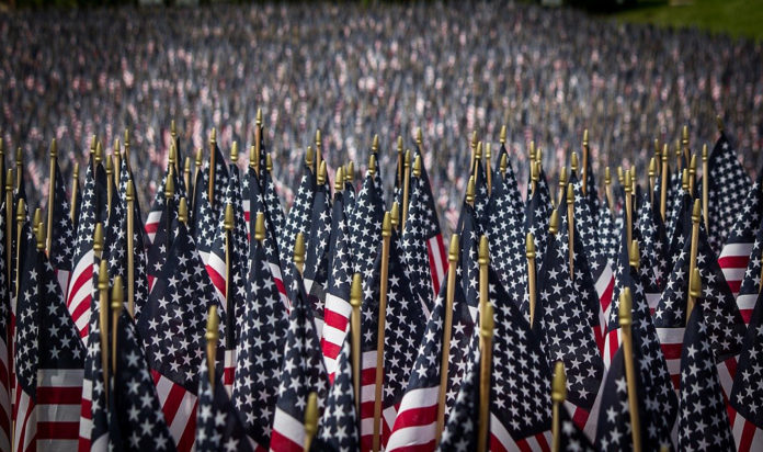 American Flags on display