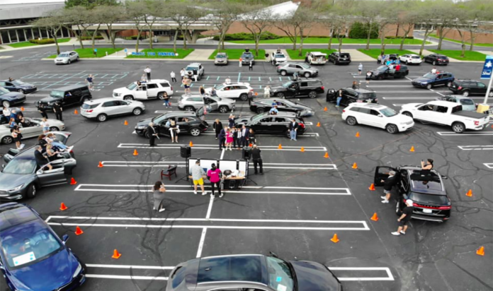 Over 50 cars rolled into the Shaarey Zedek parking lot to celebrate Daniel Michaelson.