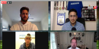 Jewish football players participated in an online conversation July 12, 2020. Clockwise from upper left: Anthony Firkser, conversation organizer Michael Neuman, Geoff Schwartz and Greg Joseph.